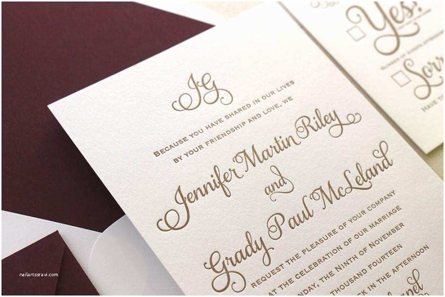 Simple Monogram Wedding Invitations the Cranberry Suite Classic Letterpress Wedding