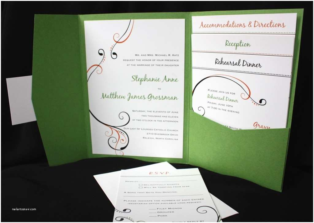 green coral black simple swirl pocketfold wedding invitations