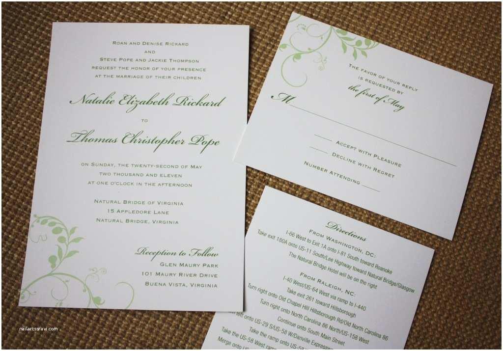 Simple Wedding Invitation Designs Simple Green Vine Wedding Invitations Programs and