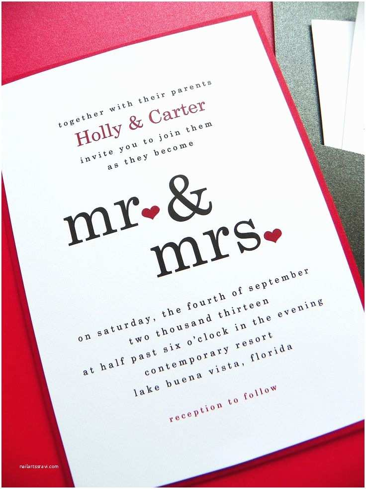 Simple Wedding Invitation Designs Wedding Invitation Mr & Mrs Pocket Card Wedding