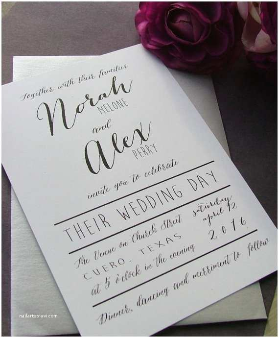 Simple Wedding Invitations Black and White Modern Wedding Invitations Simple Wedding