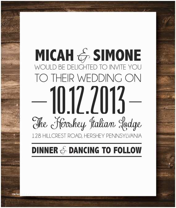 Simple Wedding Invitations Items Similar to Black and White Simple Wedding