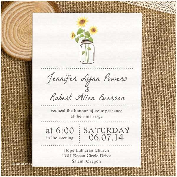 Simple Wedding Invitations Rustic Wedding Invitations Mason Jars Heart Chalkboard