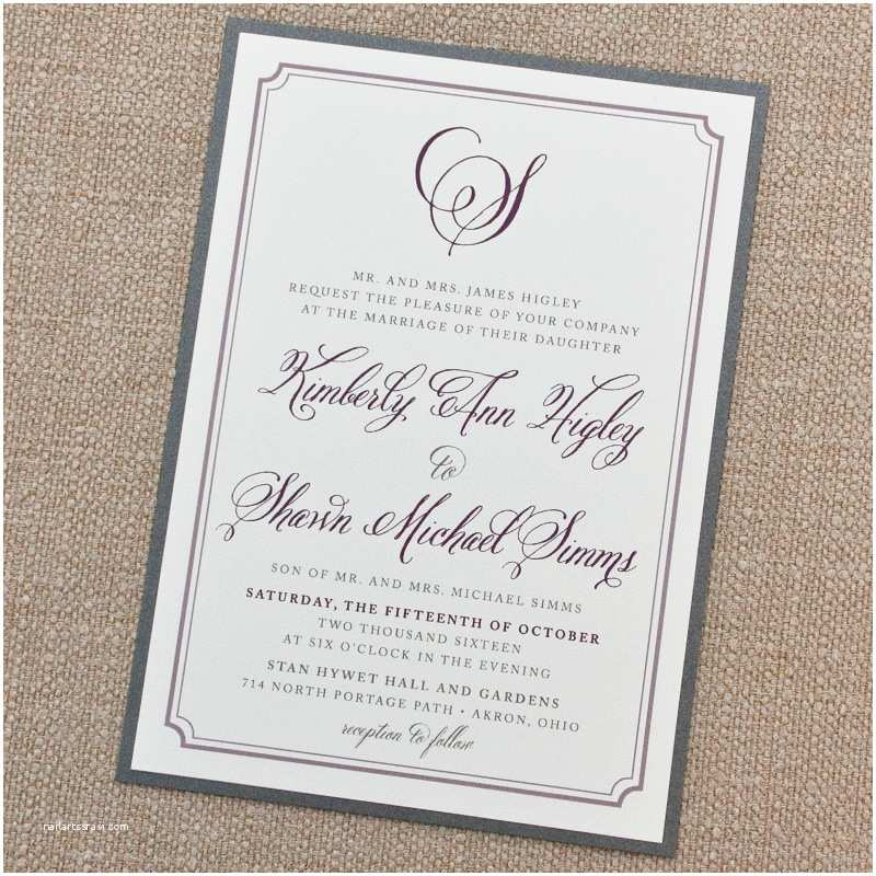 Simple Wedding Invitations Simple Elegant Border Wedding Invitation