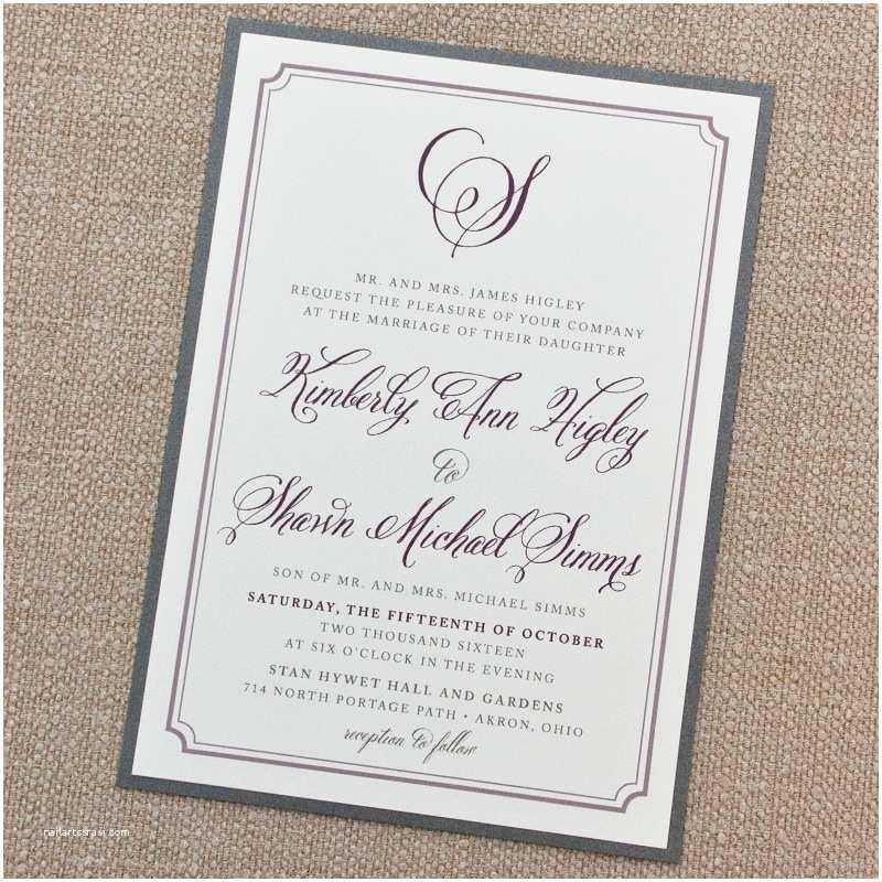 Simple Wedding Reception Invitations Simple Elegant Border Wedding Invitation