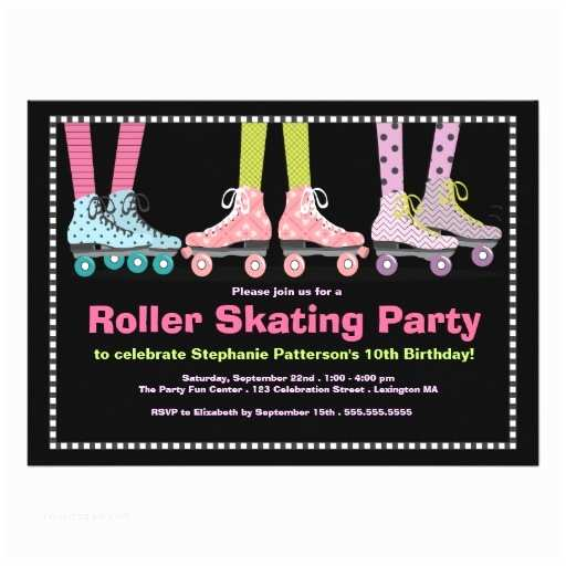 Skate Party Invitations Funky Girls Roller Skating Birthday Party Invitation Card