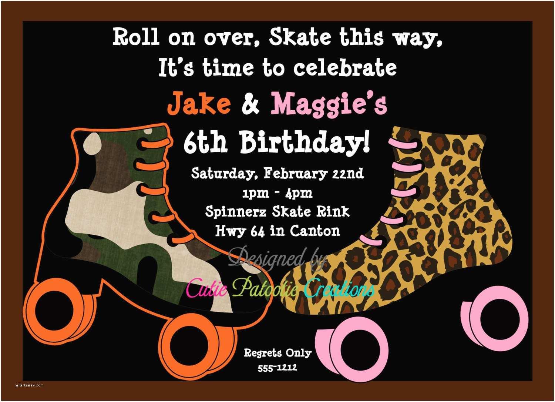 Skate Party Invitations Roller Skate Birthday Invitation Roller Skating Party