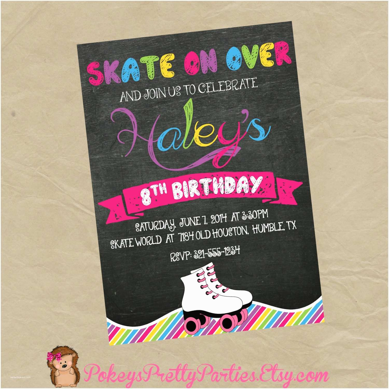 Skate Party Invitations Roller Skating Birthday Party Invitation Digital or Printed