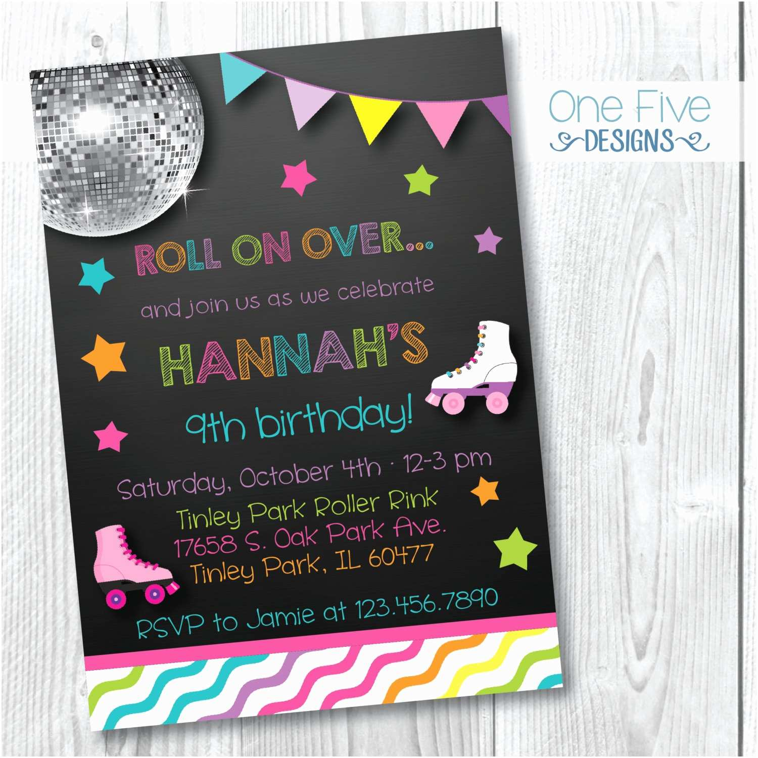 Skate Party Invitations Roller Skating Birthday Party Invitation for Girls Printable