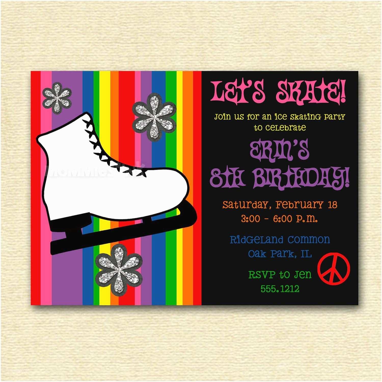 Skating Party Invitations Ice Skate Ice Skating Birthday Party Invitation