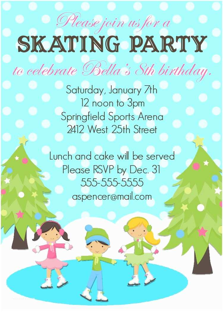Skating Party Invitations Ice Skating Birthday Invitation 5x7 Printable by