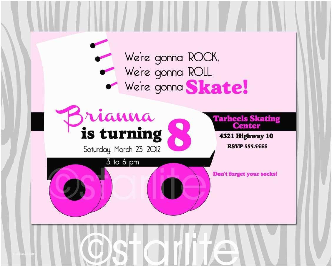 Skating Party Invitations Roller Skating Birthday Party Invitation Girl Pink by Starwedd