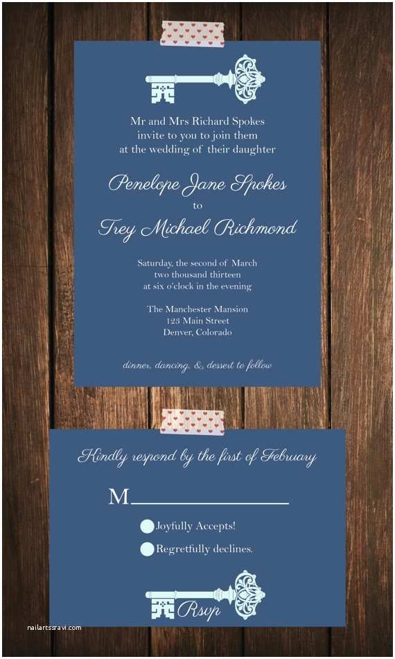 Skeleton Key Wedding Invitations Classic Skeleton Key Wedding Invitation Rsvp