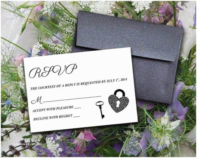 "Skeleton Key Wedding Invitations Diy Wedding Template Response Card ""key To My"