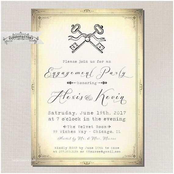 Skeleton Key  Invitations Engagement Party Invitation Vintage Skeleton Keys