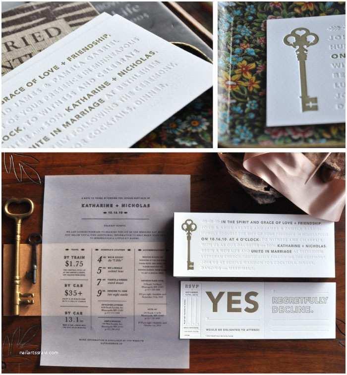 Skeleton Key Wedding Invitations Kate Nick Wedding Invitations
