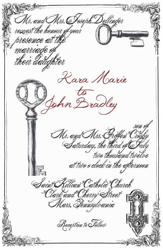 Skeleton Key Wedding  Modern Skeleton Key Letterpress Wedding