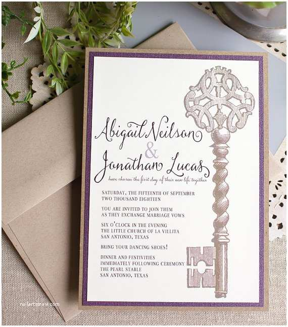 Skeleton Key Wedding Invitations Modern Skeleton Key Letterpress Wedding Invitations
