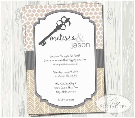 Skeleton Key Wedding Invitations Skeleton Key Invitation Wedding Bridal Shower