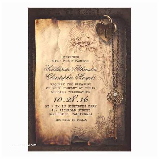 Skeleton Key Wedding Invitations Skeleton Key Vintage Wedding Invitations