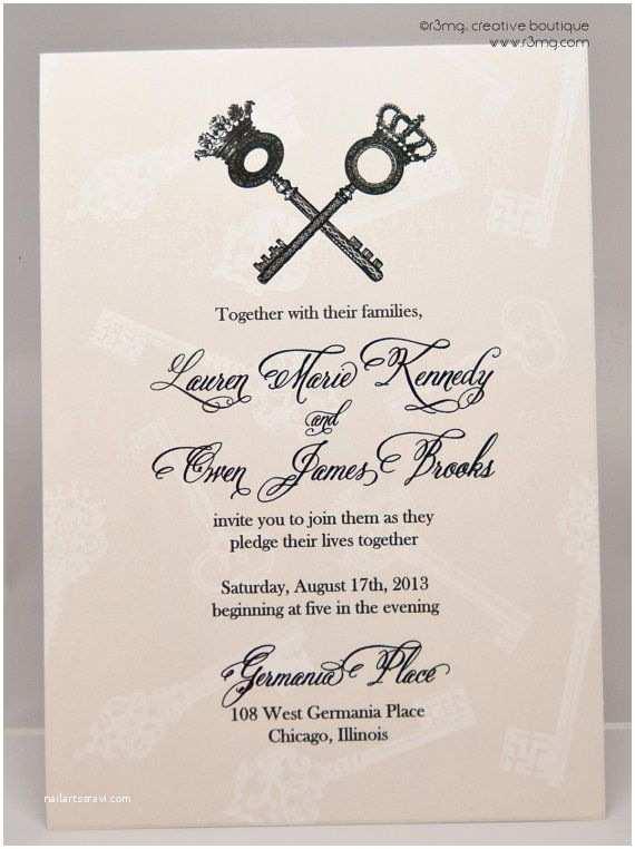 Skeleton Key Wedding Invitations Vintage Skeleton Key Wedding Invitation Set Vows By