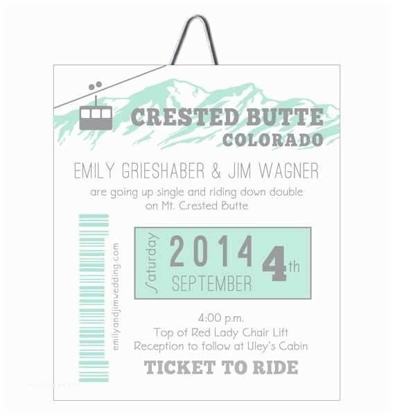 Ski Pass Wedding Invitations Alpine Gondola Ski Pass Colorado Wedding Invitation