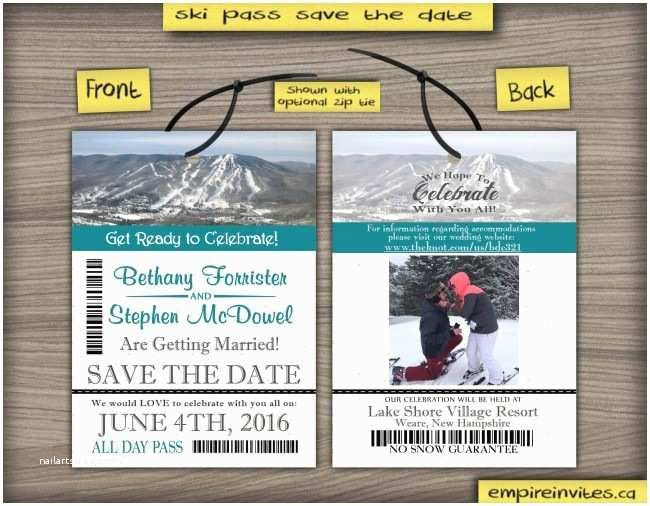 ski pass lift ticket save the date wedding passes 2