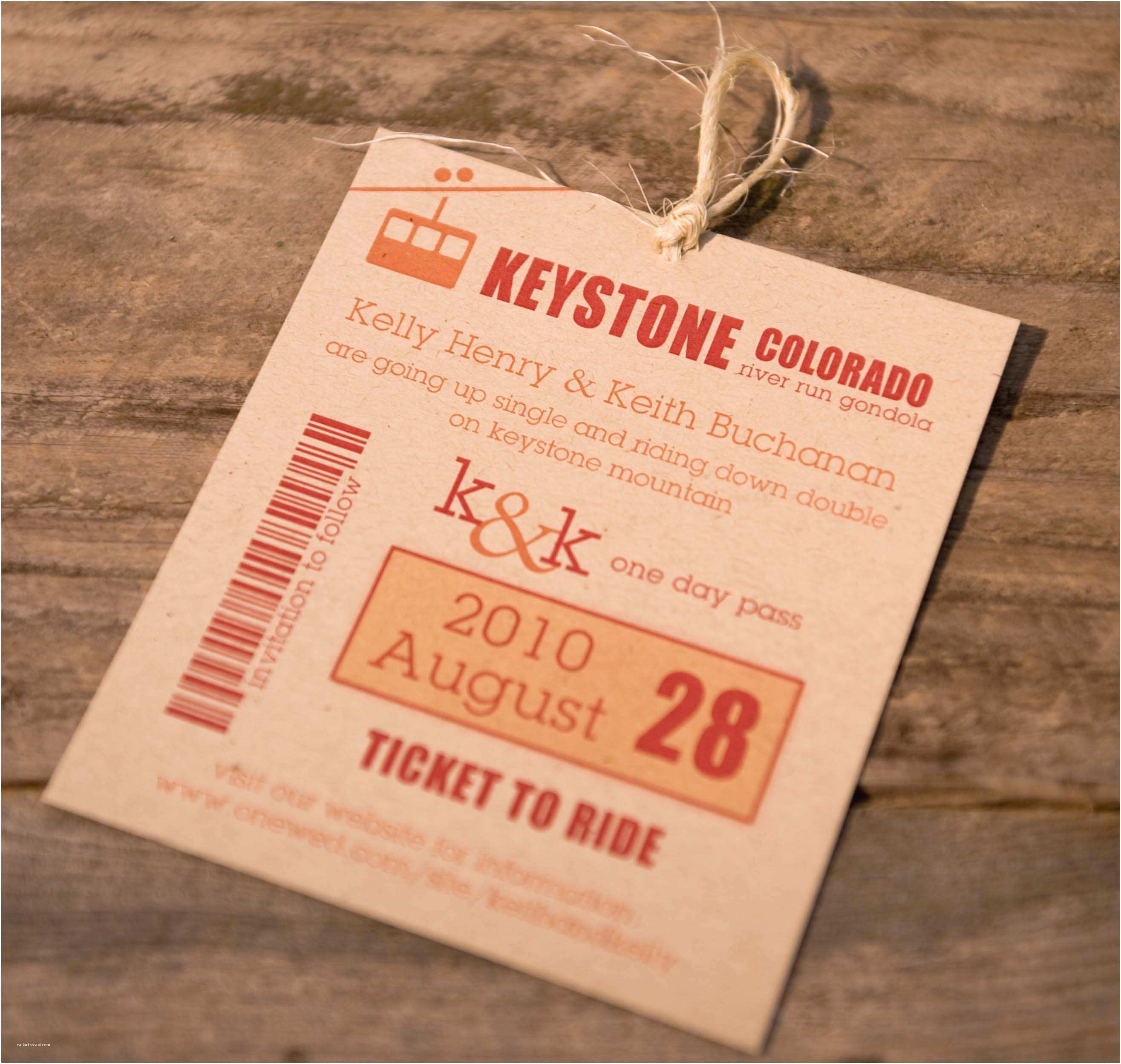 Ski Pass Wedding Invitations Save the Date Pass Save Destinations Travel Concept