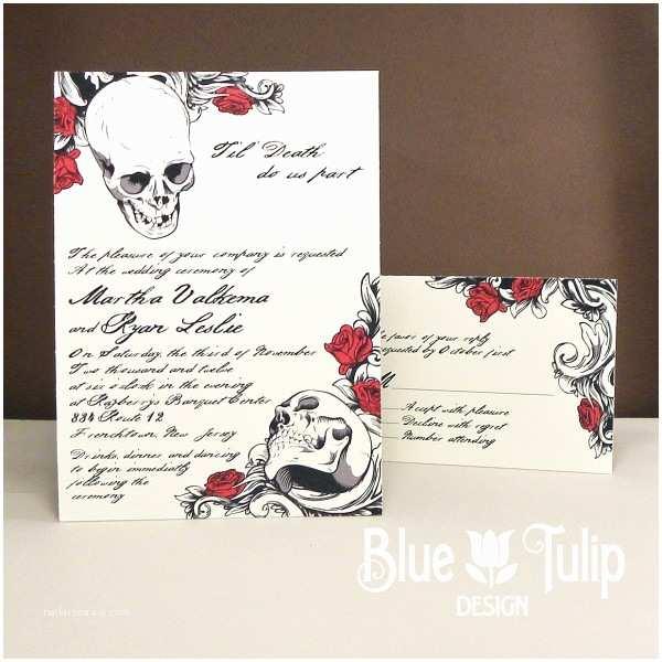 Skull Wedding Invitations Blue Wedding Invitations With Scrolling