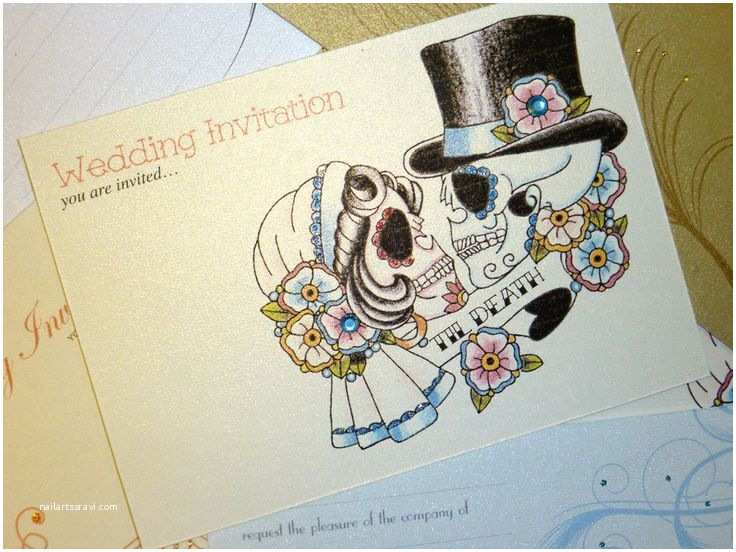 """Skull Wedding Invitations Bride & Groom Sugar Skull """"til Death"""" Tattoo Day Of"""