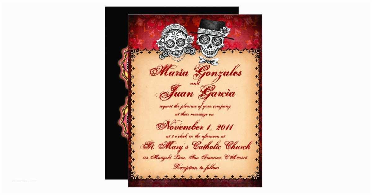 Skull Wedding Invitations Day Of the Dead Sugar Skull Wedding Invitations