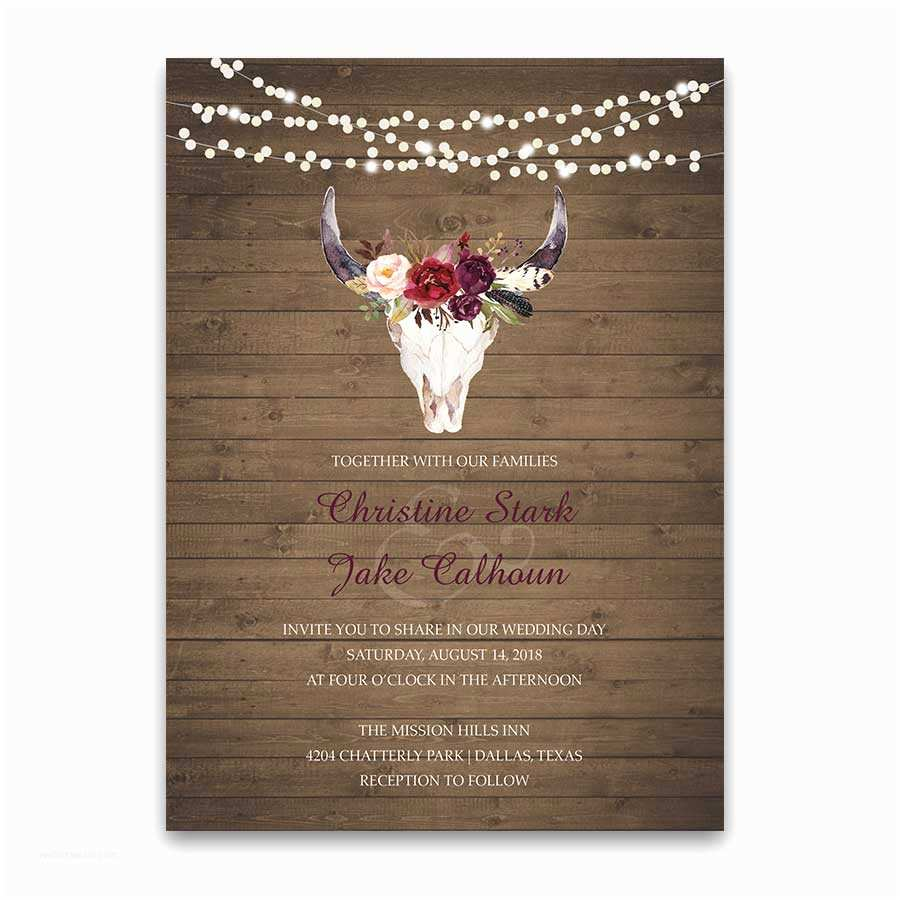 Skull Wedding Invitations Floral Engagement Party Invitations Deer Skull Antlers