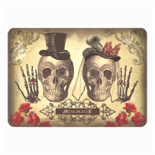 Skull Wedding Invitations Gothic Skull Couple Day Of The Dead Wedding