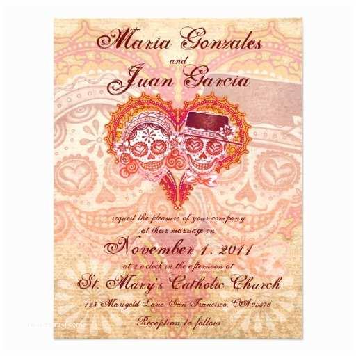 """Skull Wedding Invitations Sugar Skull Couple Wedding Invitations 4 25"""" X 5 5"""