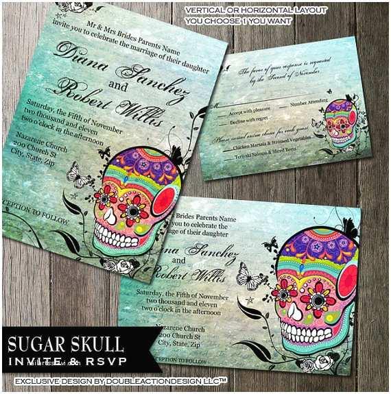 Skull Wedding Invitations Sugar Skull Wedding Invitation And Rsvp Stationery