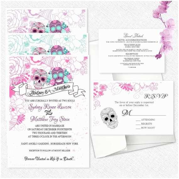 Skull Wedding Invitations Sugar Skull Wedding Invitations Day The Dead Invitation