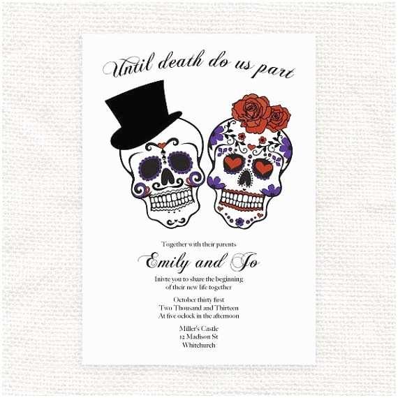 Skull Wedding Invitations Until Do Us Part Wedding Invitation Sugar