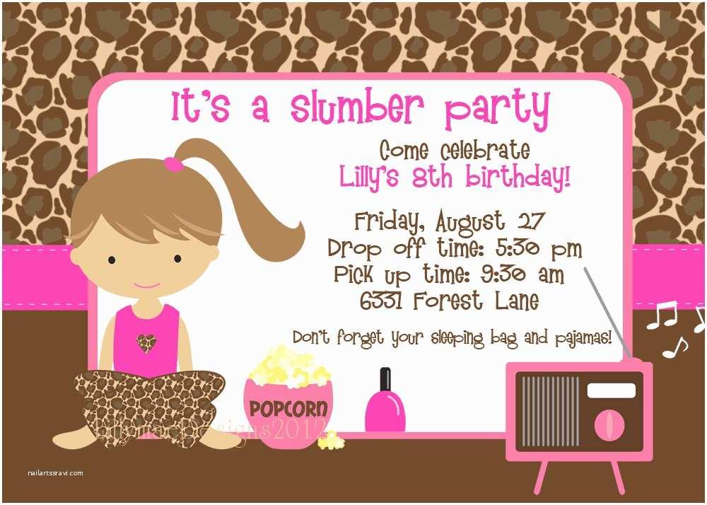 Sleepover Party Invitations Slumber Invitation Pajama