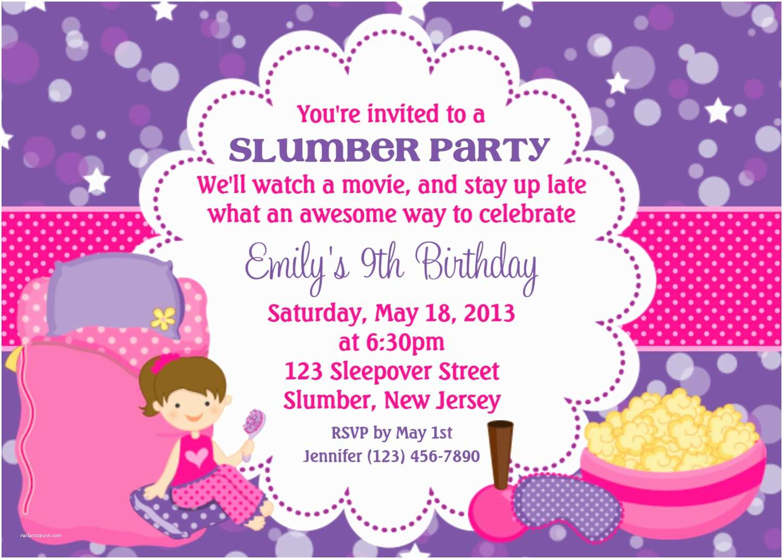 Sleepover Party Invitations Slumber Invitation Personalized Custom