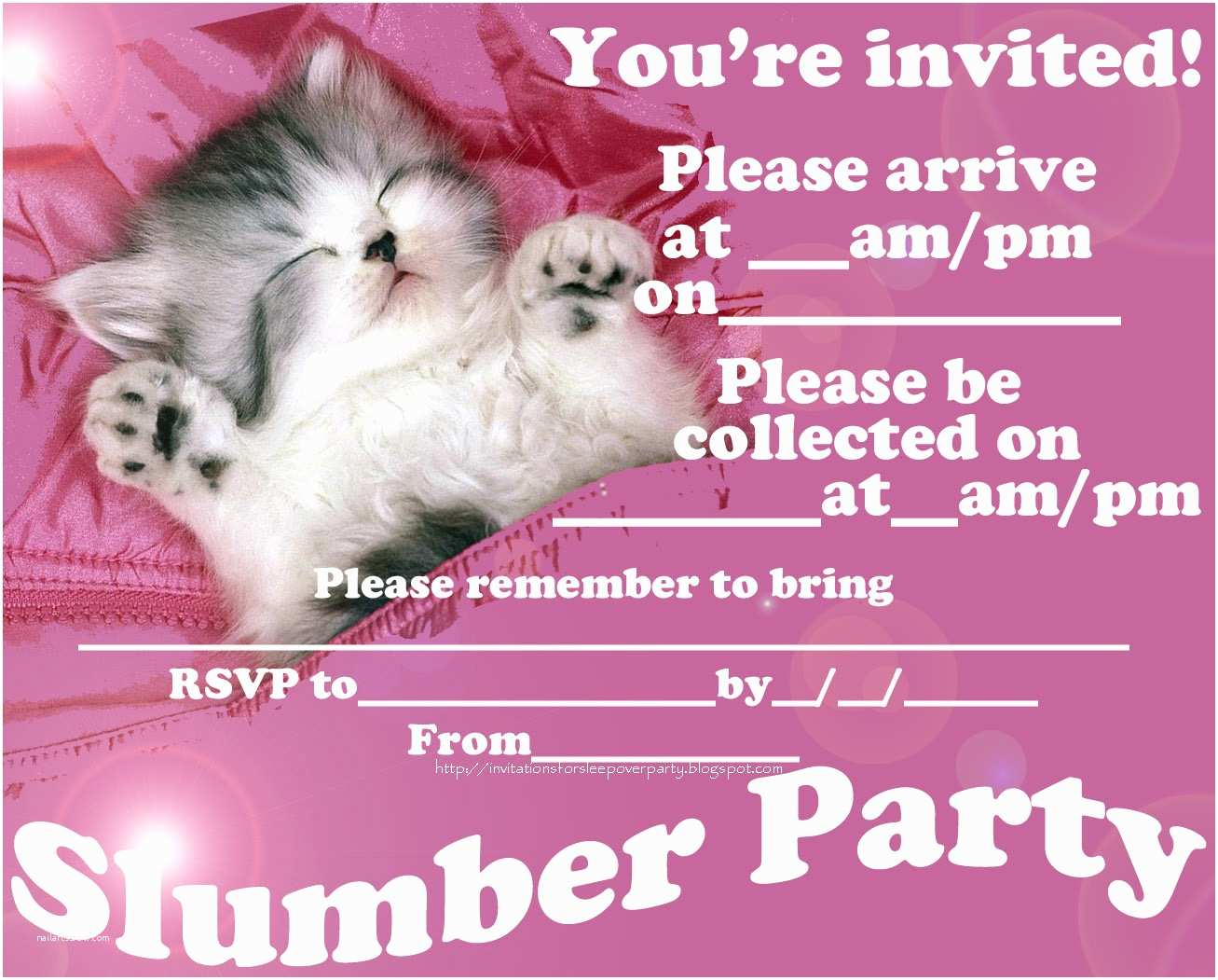 Slumber Party Invitations Invitations for Sleepover Party