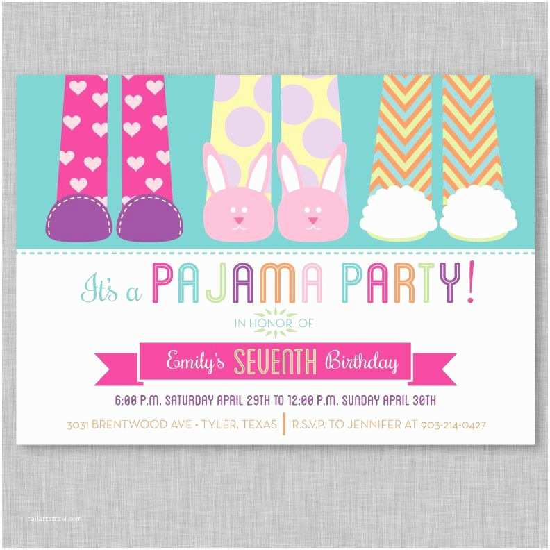 Slumber Party Invitations Pajama Party Invitation Slumber Party by Papercrazedesigns