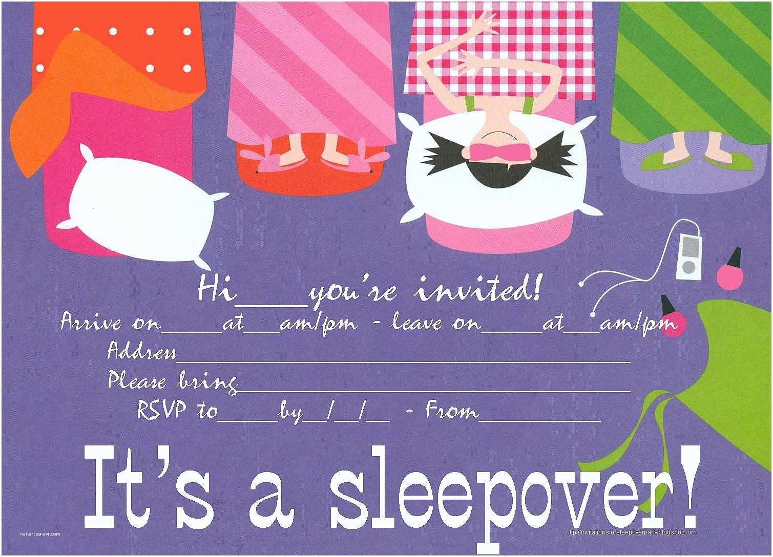 Slumber Party Invitations Sleepover Party Invitation that is Free to Print Just