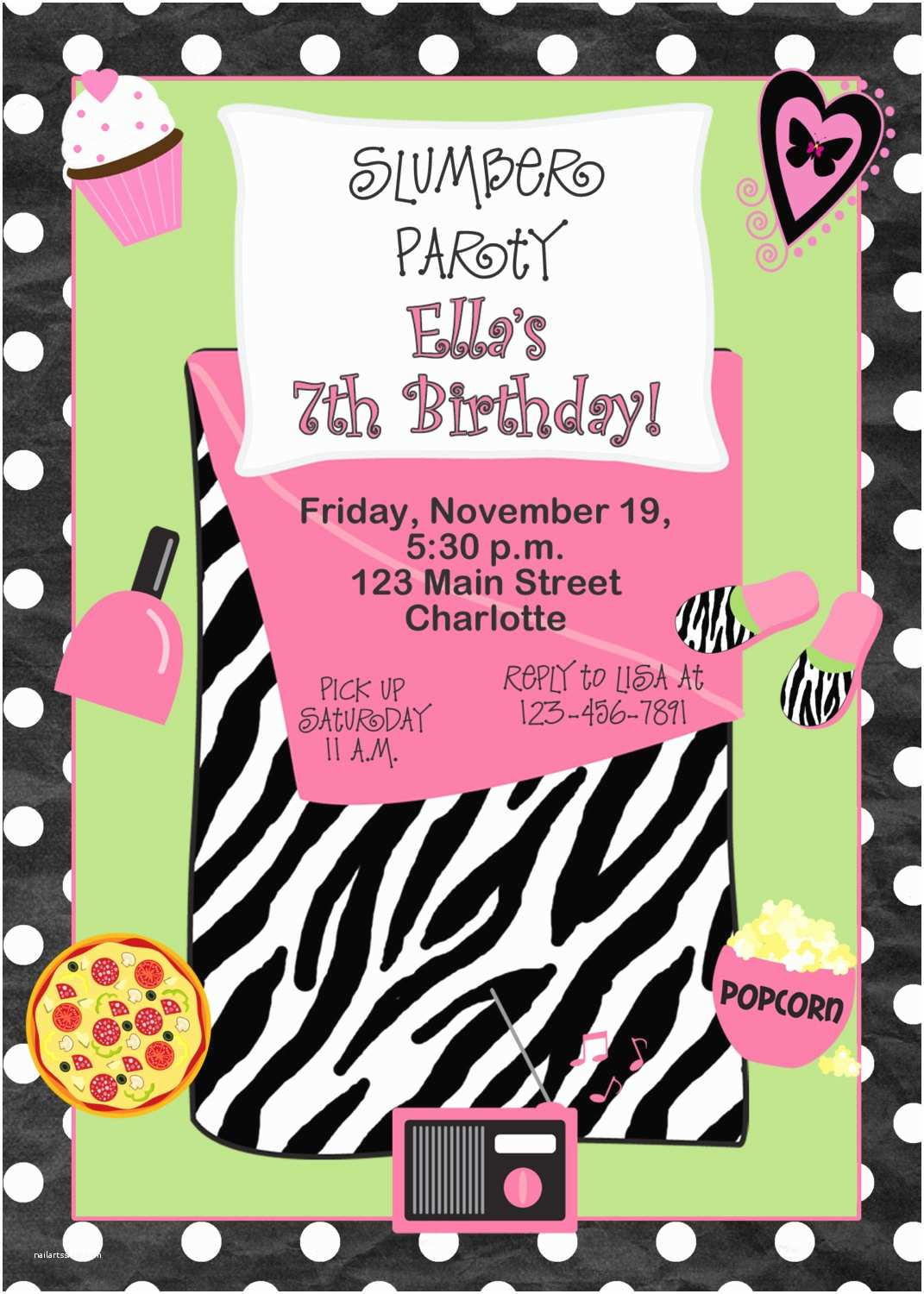 Slumber Party Invitations Slumber Party Birthday Invitation Pajama by thebutterflypress