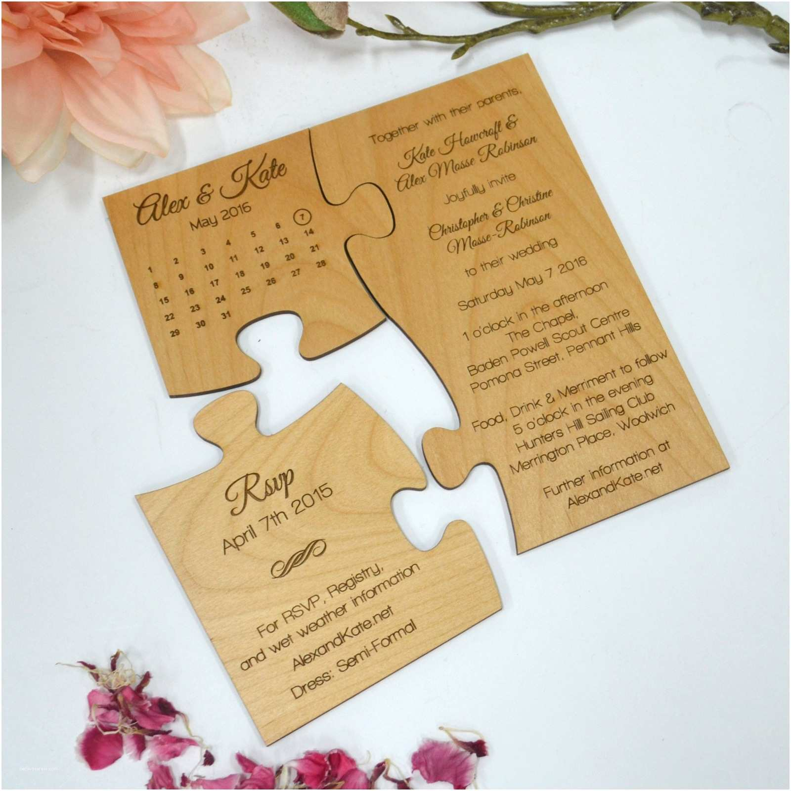 Small Wedding Invitation Cards Engraved Wooden Save the Date Puzzle