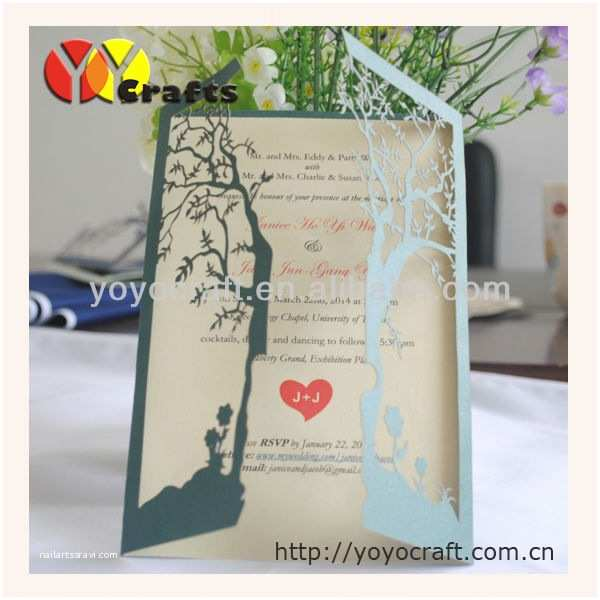 Small Wedding Invitation Cards Hot Sell Unique Design Double Door Tree Shape with the