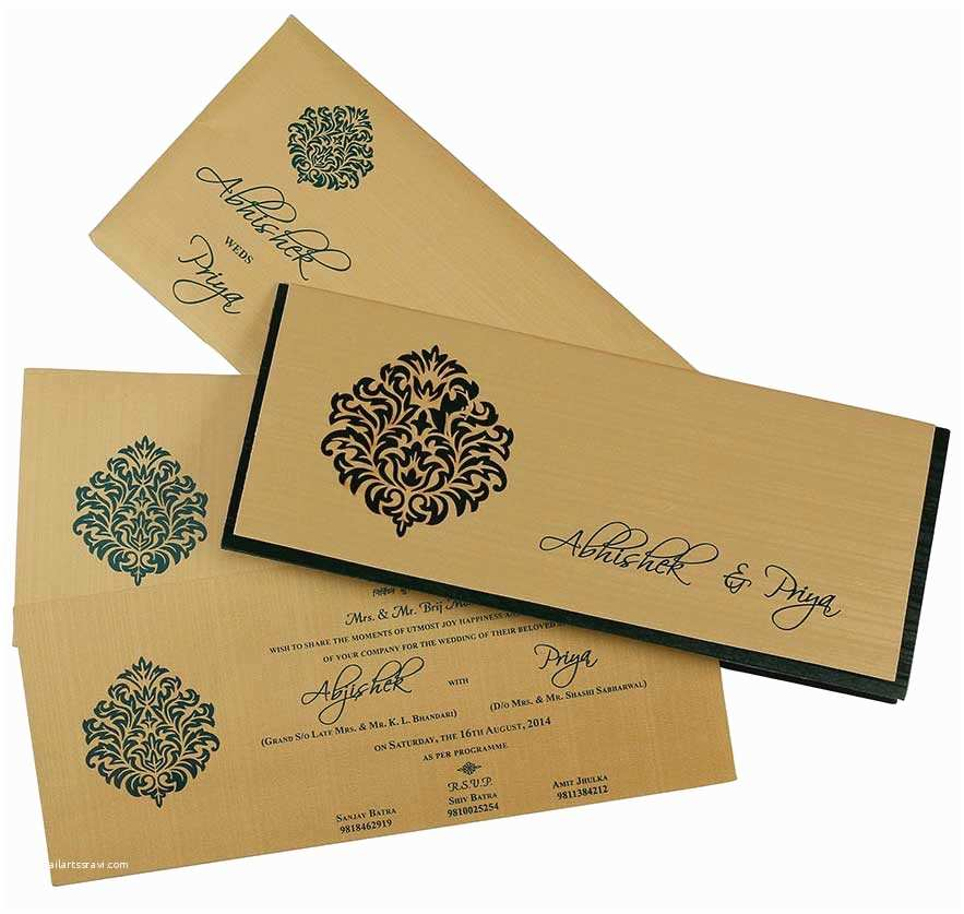 Small Wedding Invitation Cards Indian Wedding Card In Dark Green and Golden with Cutout