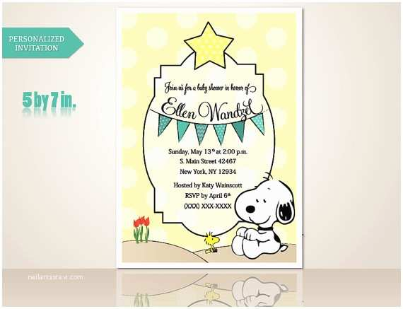 Snoopy Baby Shower Invitations Baby Shower Snoopy Invitation Boy Custom order by