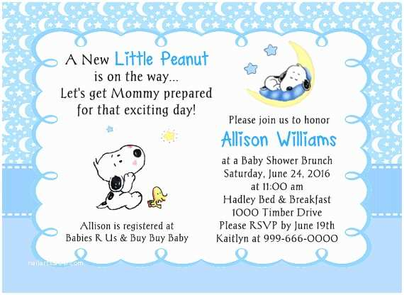 Snoopy Baby Shower Invitations Baby Snoopy Little Peanut Moon and Stars Baby Shower