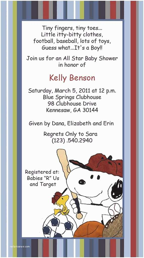 Snoopy Baby Shower Invitations Baby Snoopy Sport Invitations by Suzansdesigns On Etsy $0