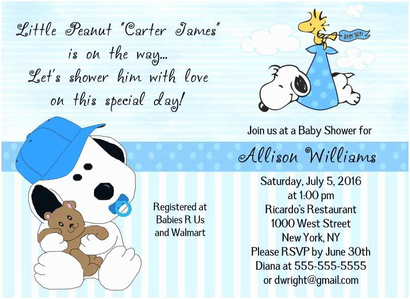 Snoopy Baby Shower Invitations Baby Snoopy Stork Woodstock Blue Green Pink or Twins Baby